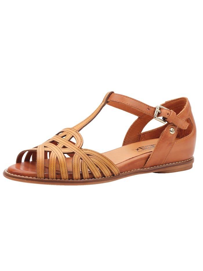 PIKOLINOS Sandale mit variabel, verstellbarem T-Ristriemchen, Braun