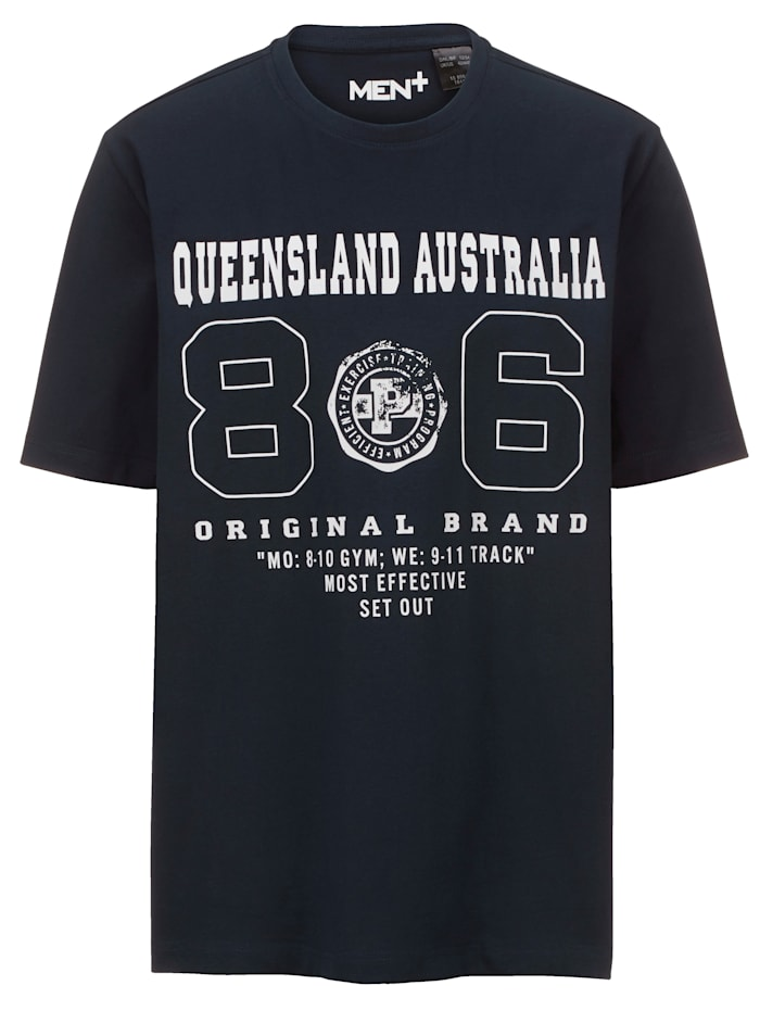 Men Plus T-Shirt aus reiner Baumwolle, Marineblau/Weiß