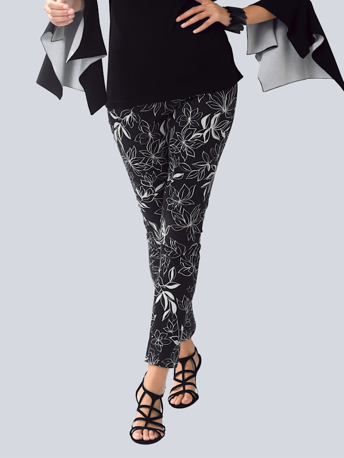 Alba Moda Kalhoty s květinovým potiskem, Černá/Přírodní bílá