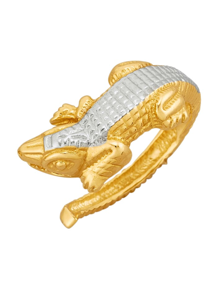 Krokodil-Ring in Gelbgold 375, Gelbgoldfarben