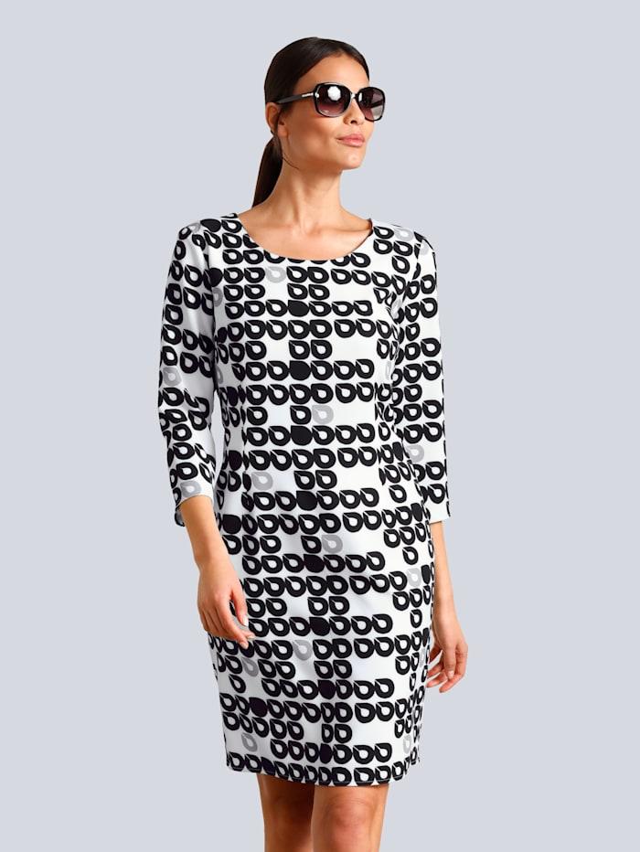Alba Moda Kleid im Kreise-Dessin allover, Off-white/Grau/Schwarz
