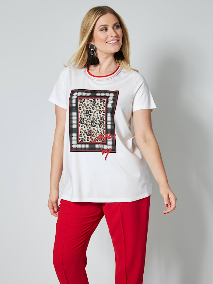 Sara Lindholm T-shirt avec strass, Blanc cassé/Noir