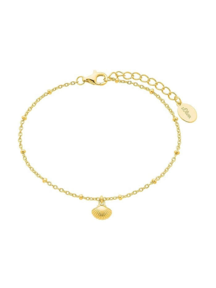 s.Oliver Armband für Damen, Sterling Silber 925, Muschel, Gold