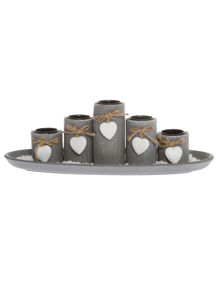 Teelichthalter-Set, Grau