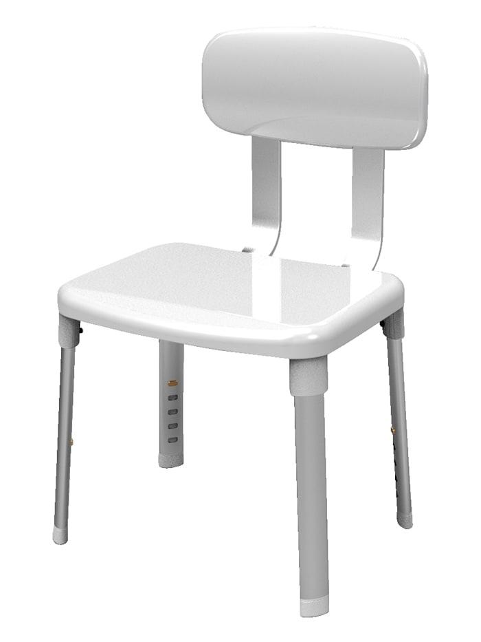 B&B Bischof Chaise à dossier pour la douche et le bain, blanc