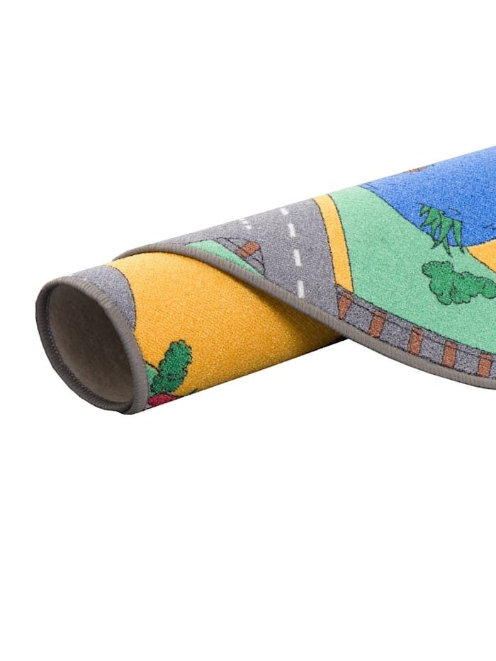 Kinder Spiel Teppich Straßenteppich Grün Rund