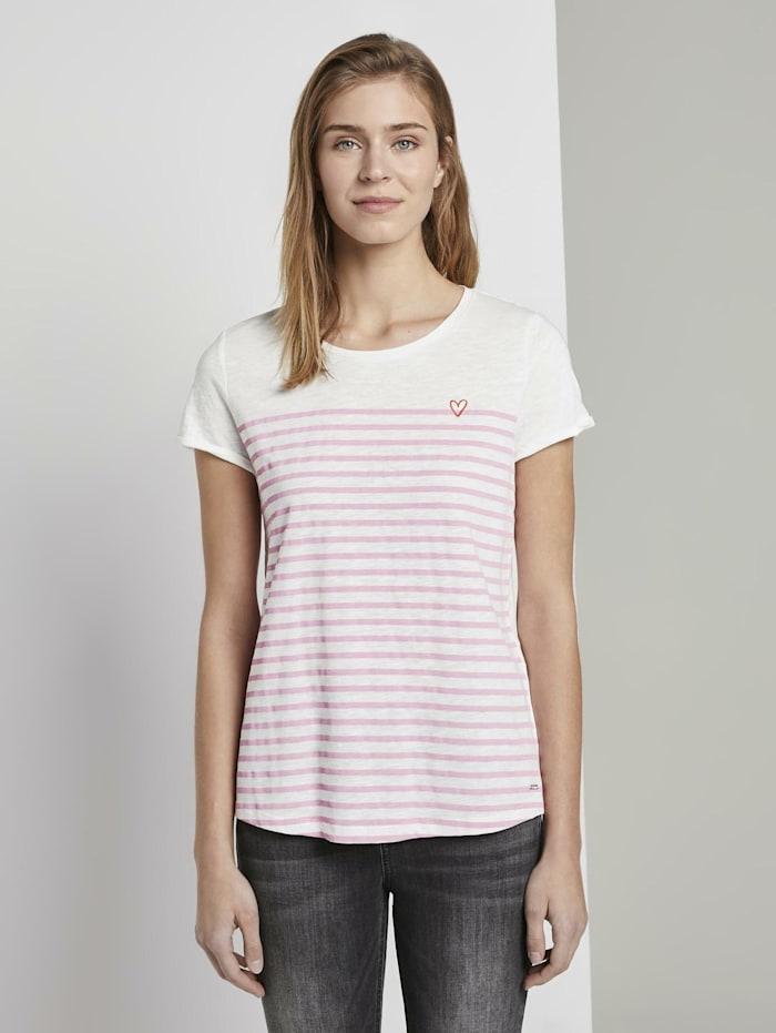 Tom Tailor Denim Gestreiftes T-Shirt mit kleiner Stickerei, rose white stripe
