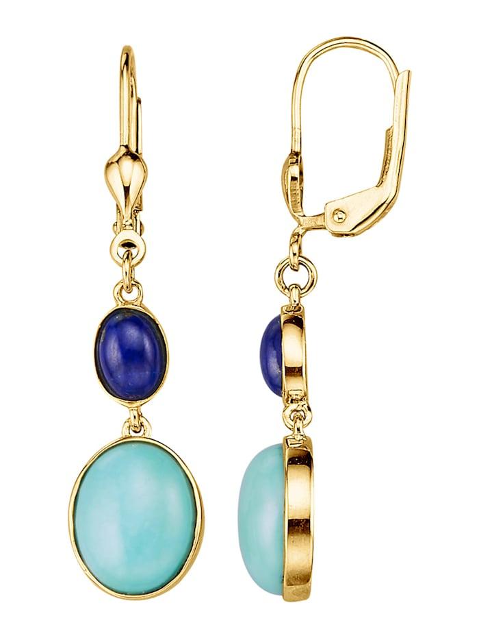 Diemer Farbstein Ohrringe mit Türkisen und Lapislazuli, Blau