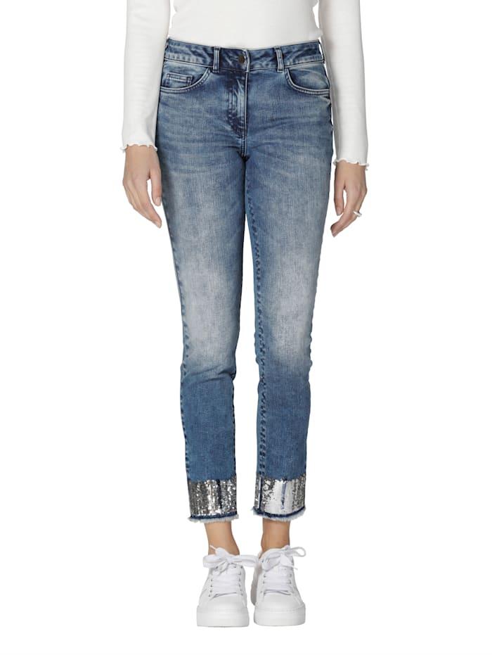 AMY VERMONT Jean avec paillettes et finition frangée au bas de jambe, Blue bleached