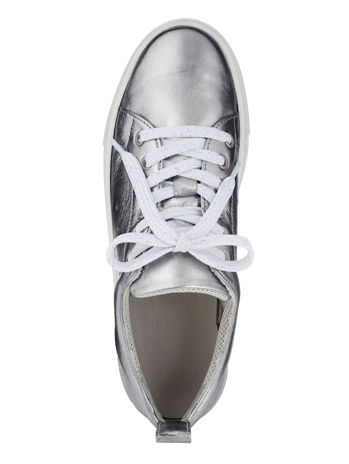 Platform trainers in a metallic finish