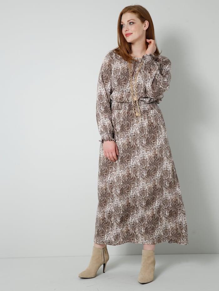 Sara Lindholm Web-Kleid mit gesmokter, elastischer Taille, Beige/Braun