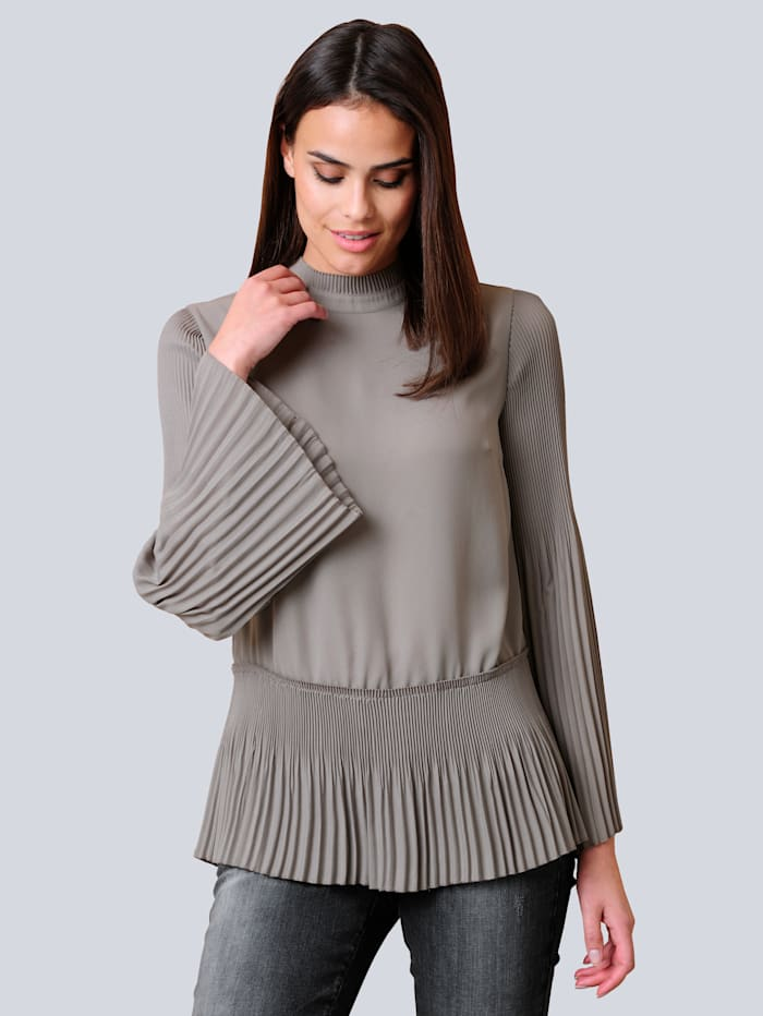 Alba Moda Bluse mit Plissierung, Grau