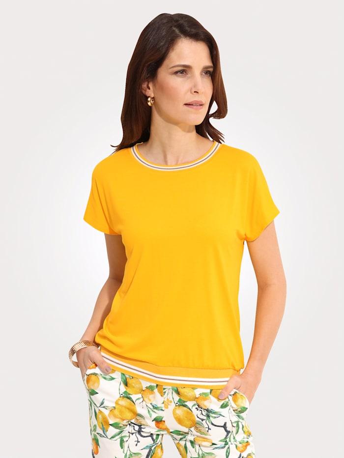 MONA Shirt mit sportiven Rippbündchen, Gelb/Weiß