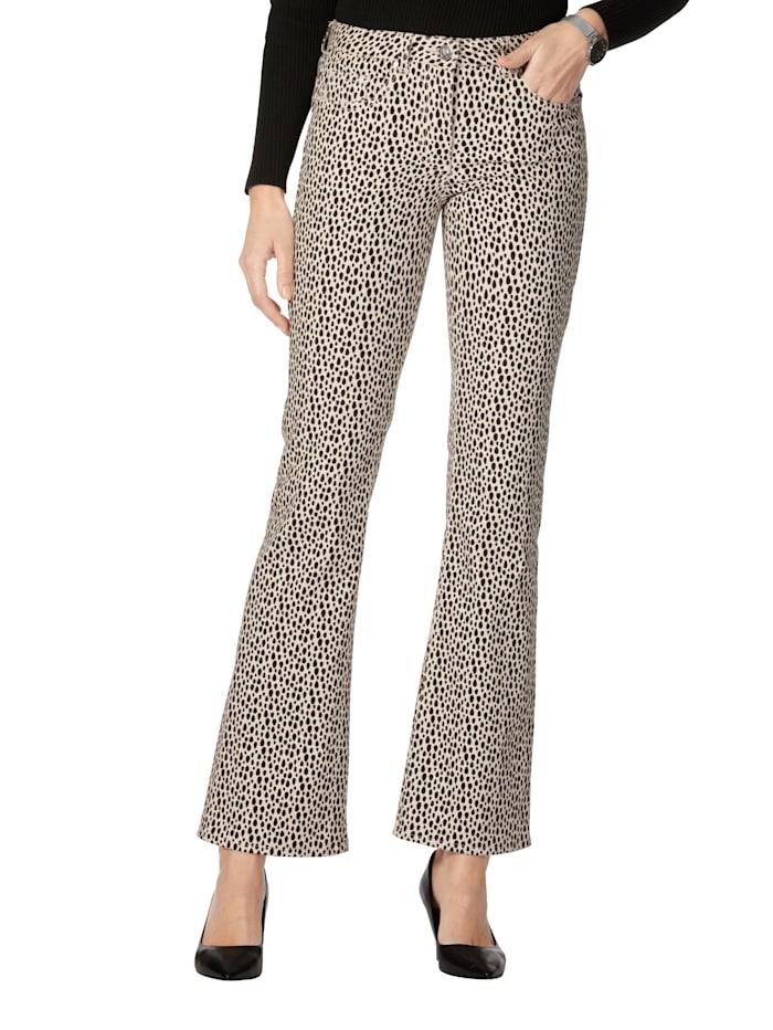 Jeans med grafisk prikkemønster