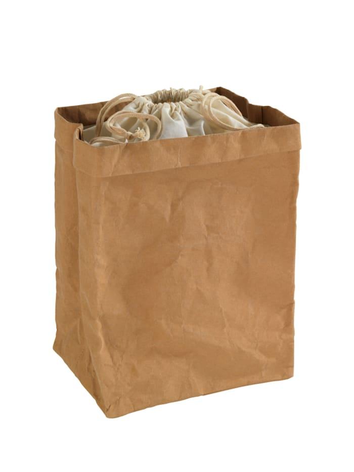 Wenko Aufbewahrungstüte Papier groß, Aufbewahrungstüte: Braun, Abdeckung: Beige