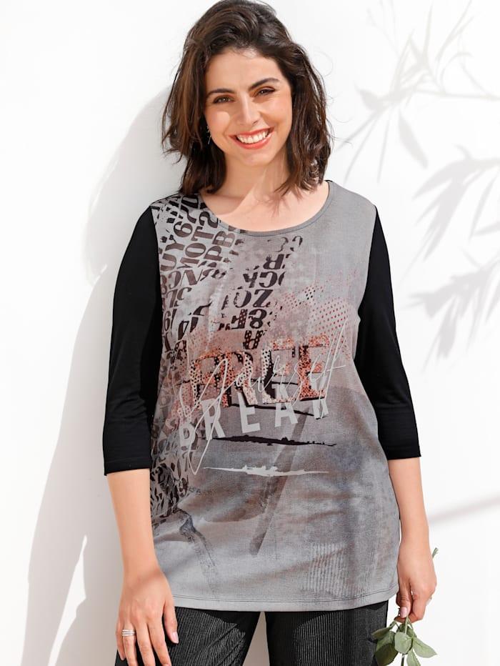 MIAMODA Longshirt met grafisch dessin, Zwart/Roze