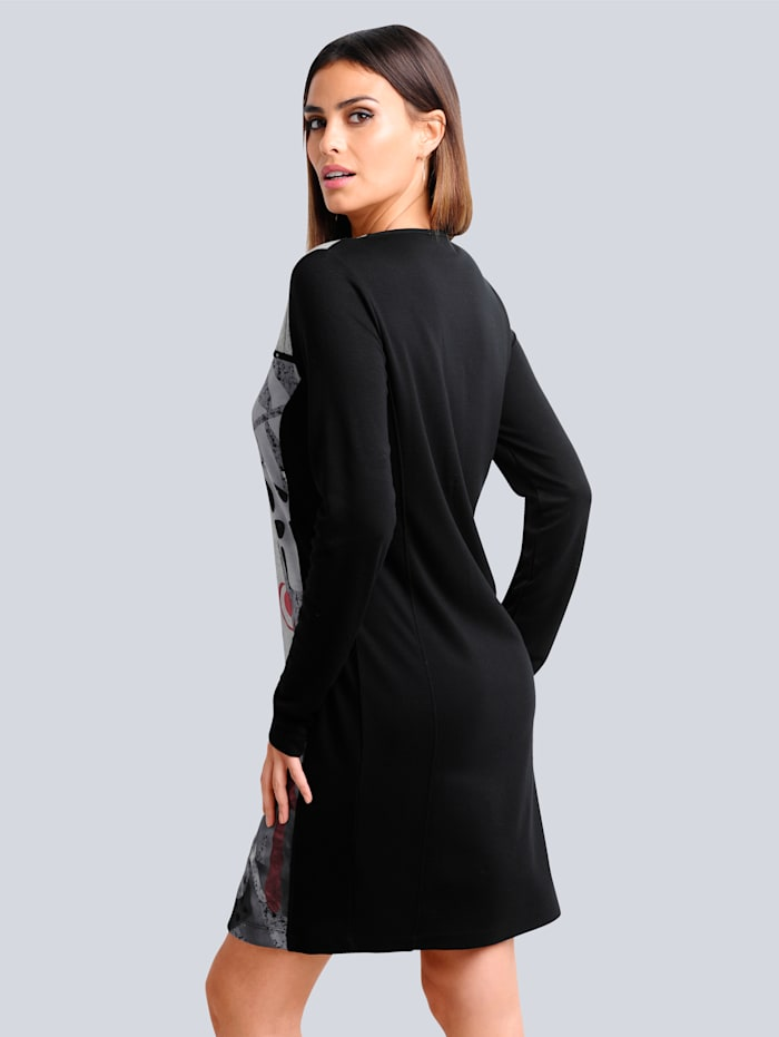 Jerseykleid im Dessin-Mix