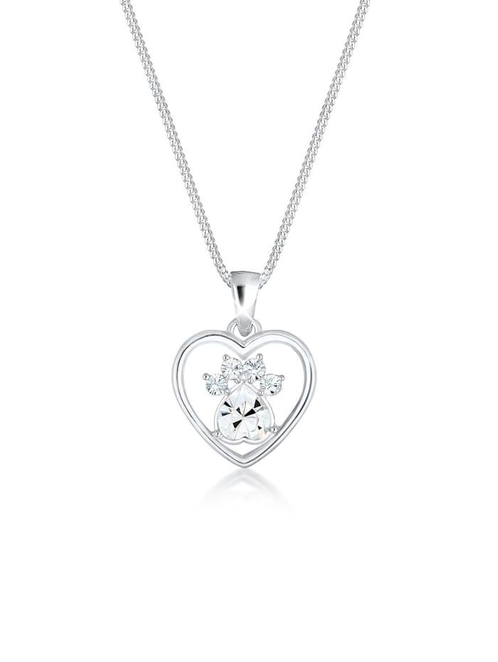 Elli Halskette Herz Pfote Hund Katze Swarovski® Kristalle Silber, Silber