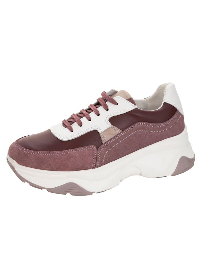 Sneaker van een mooie leermix, Lila/Bordeaux/Beige/Wit