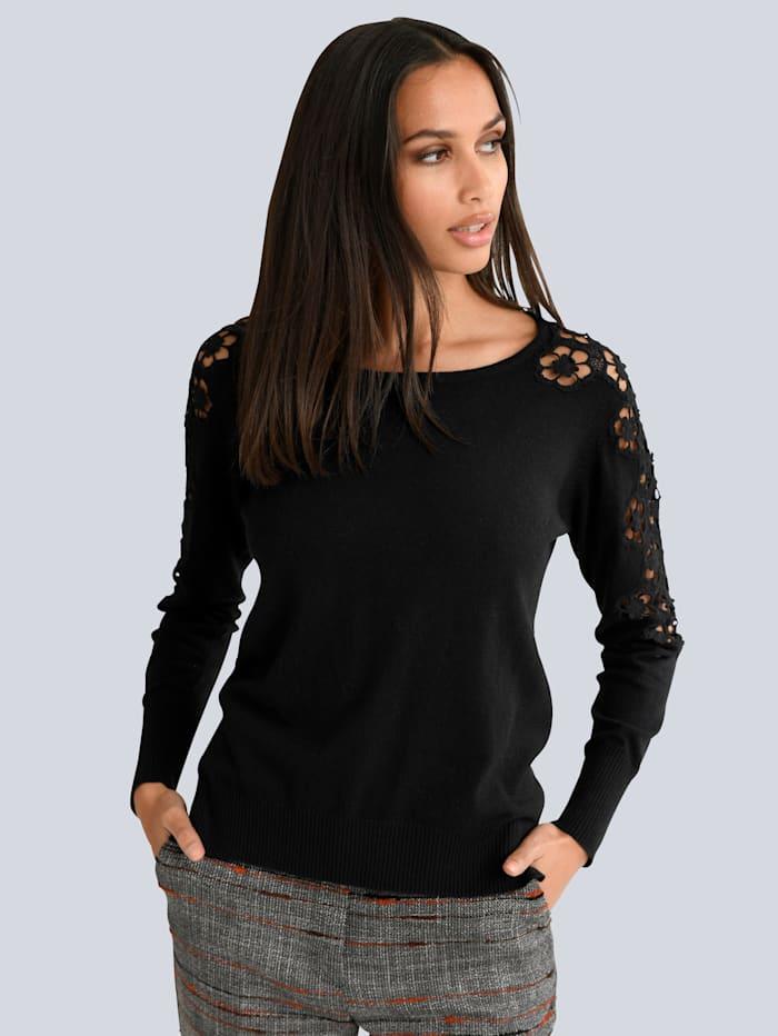 Alba Moda Pullover mit floraler Spitze, Schwarz