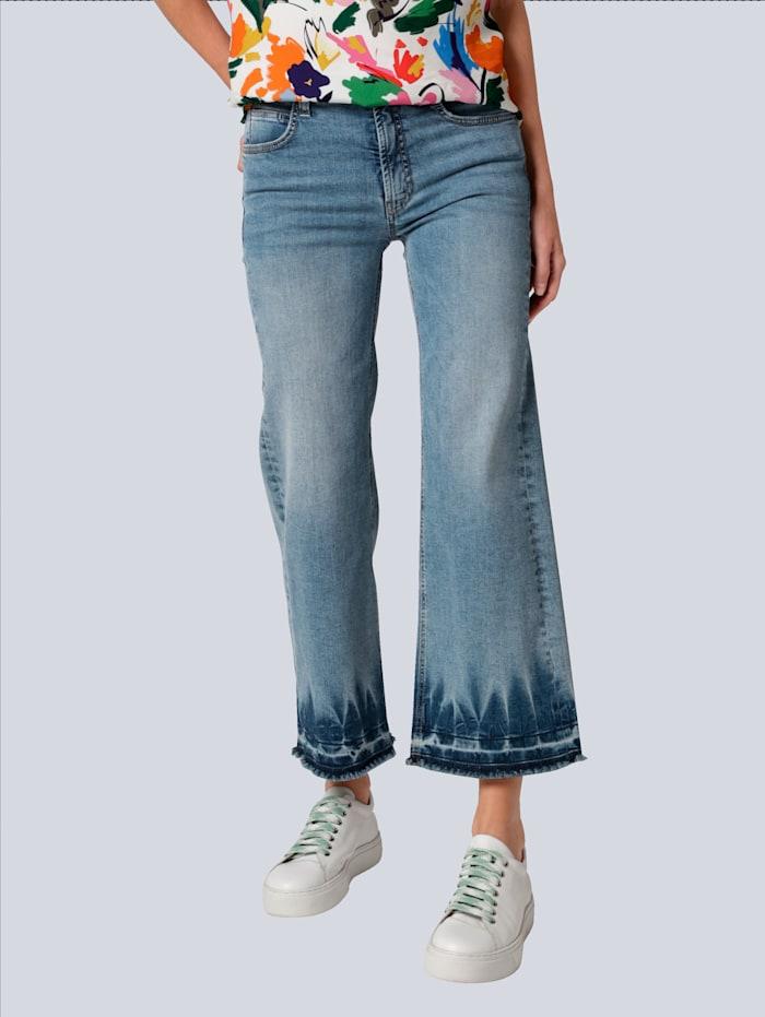 CAMBIO Jeans mit Saumkante in verschwaschener Batikoptik, Blue bleached
