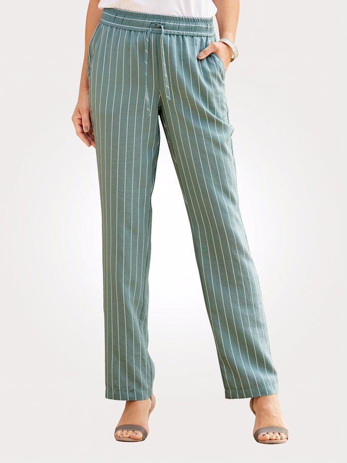 MONA Pantalon en matière tissée légère, Menthe/Blanc