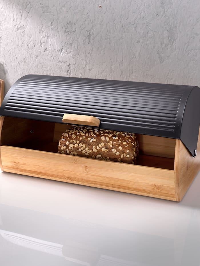 Zeller Brödskrin i bambu och metall, mått 39 x 27 x 19 cm, Svart/Natur