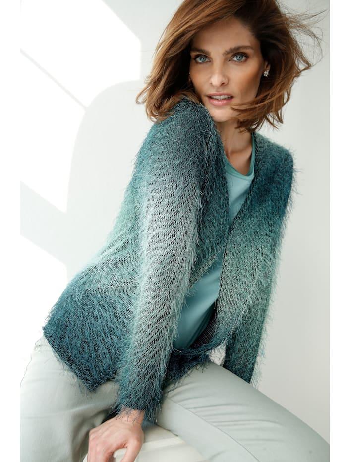 Cardigan with furry fancy yarn