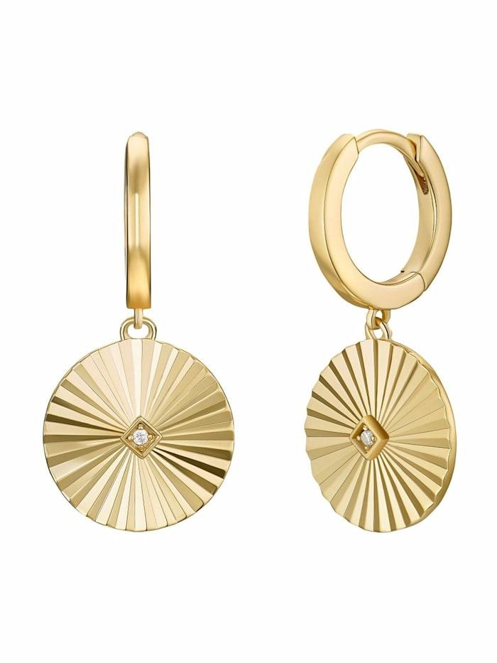 Noelani Creolen für Damen, Sterling Silber 925 vergoldet, Sunrays, Gold