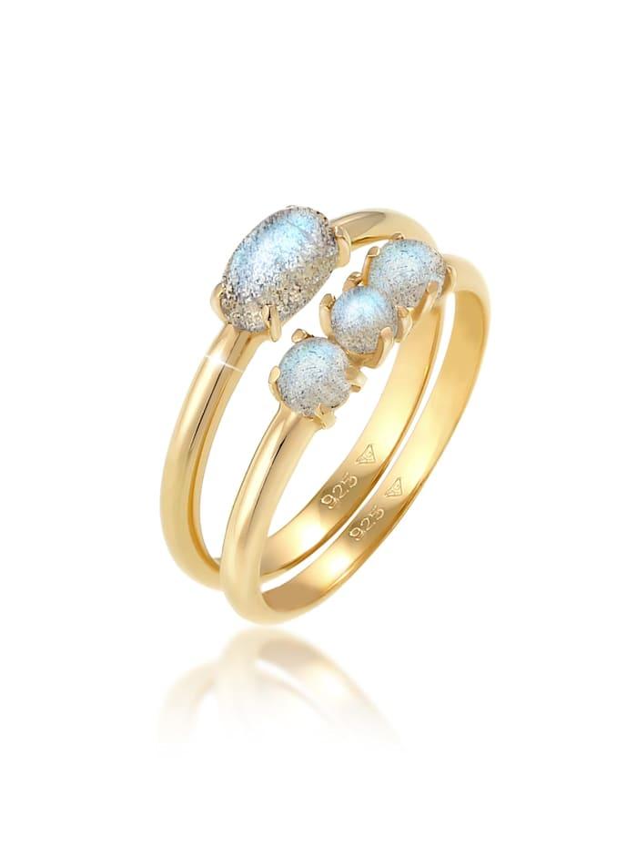 Elli Ring Kombi Labradorit Edelstein Vintage Look 925 Silber, Gold