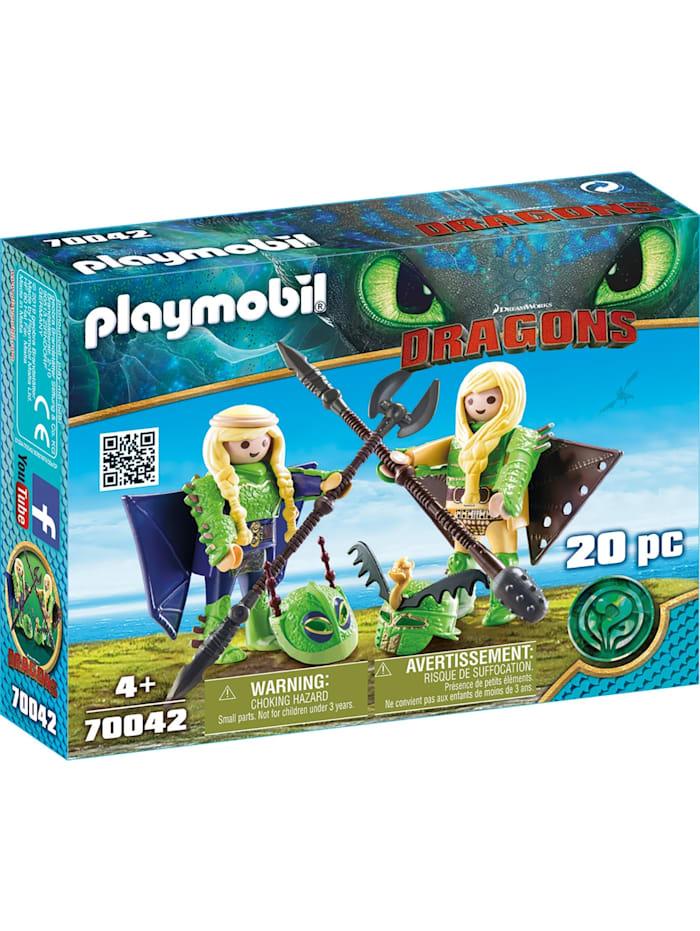 PLAYMOBIL Konstruktionsspielzeug Raffnuss und Taffnuss mit Fluganzug, Bunt