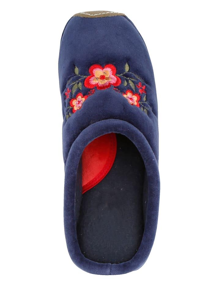 Pantoffel mit schönem Blütenaufdruck
