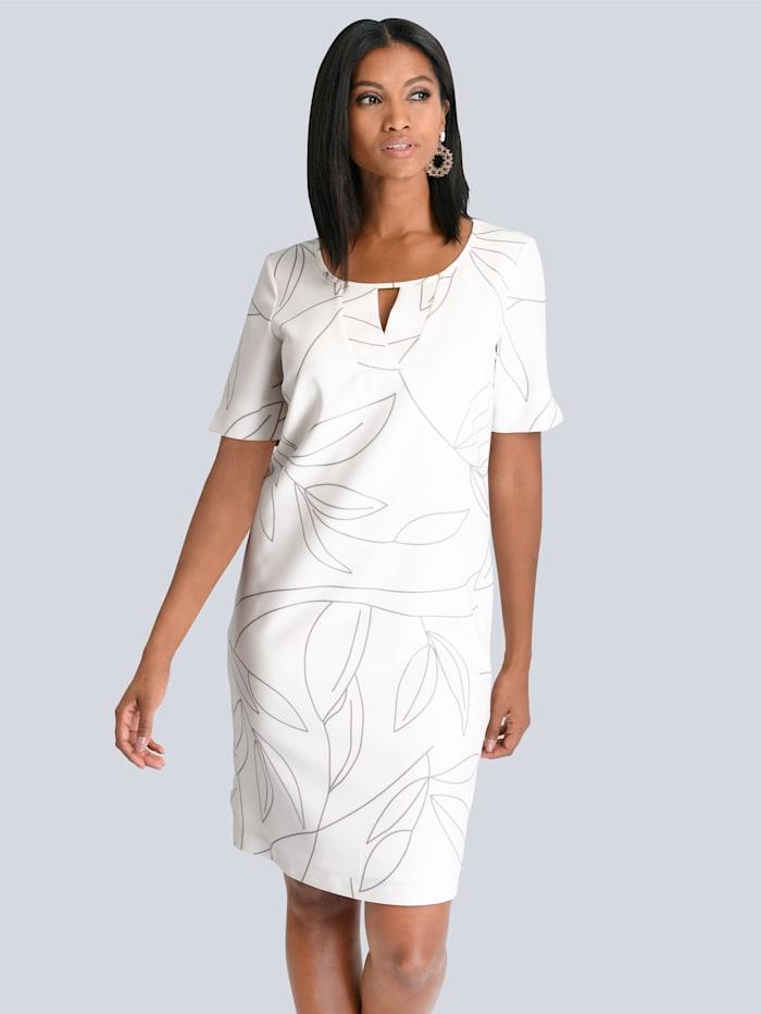 Alba Moda Kleid mit raffinierter Ausschnitt-Lösung, Creme-Weiß