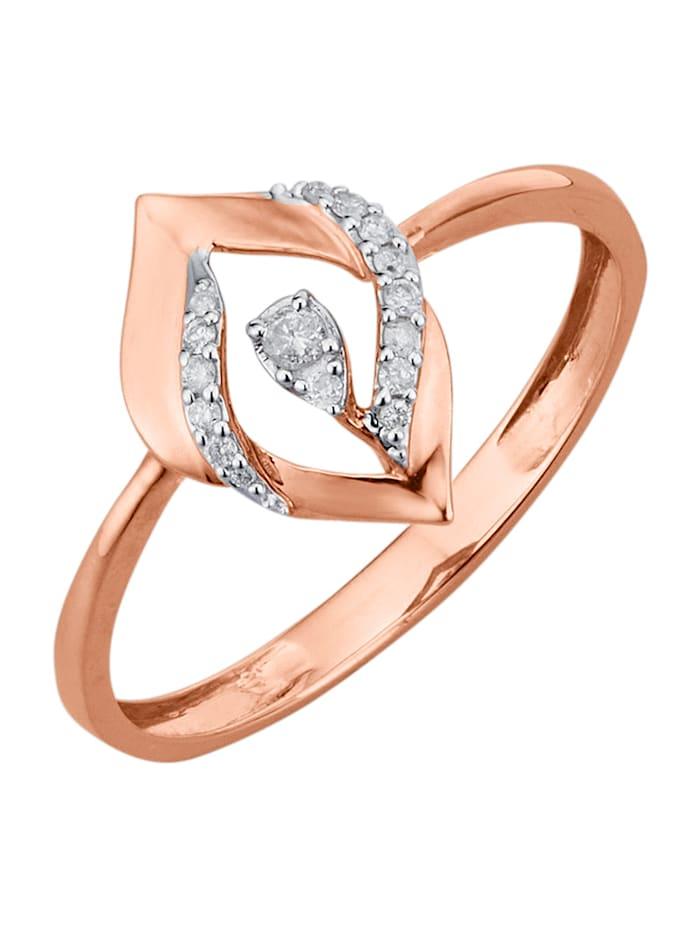 Damenring mit Diamanten, Roségoldfarben