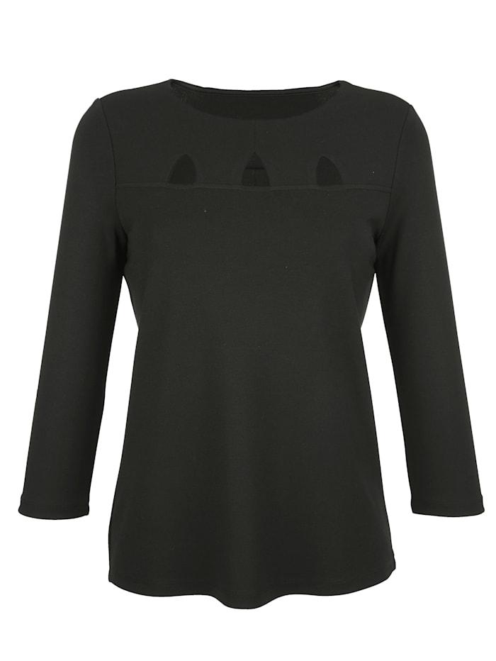Alba Moda Shirt mit modischen Cut-Outs, Schwarz