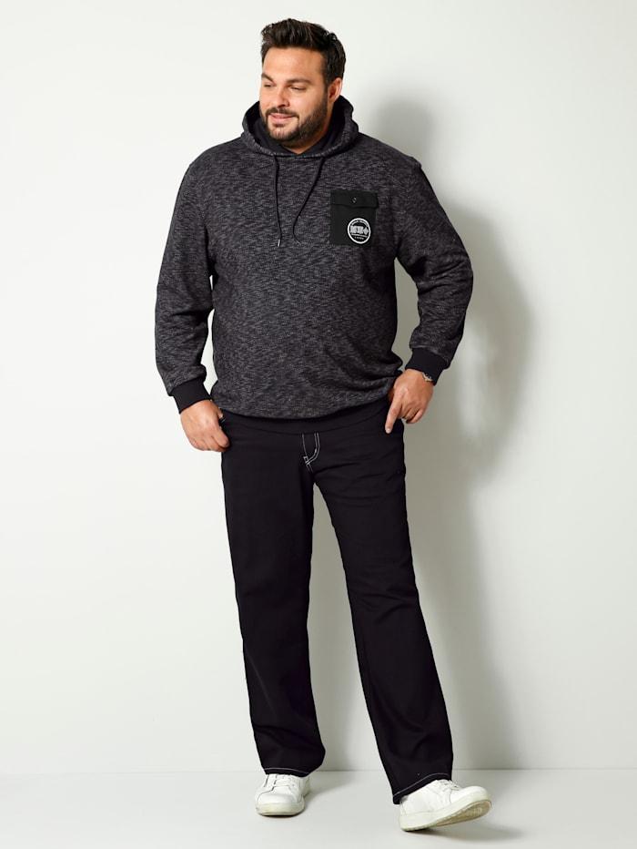 Men Plus Sweat-shirt de coupé spéciale ventre, Noir/Blanc