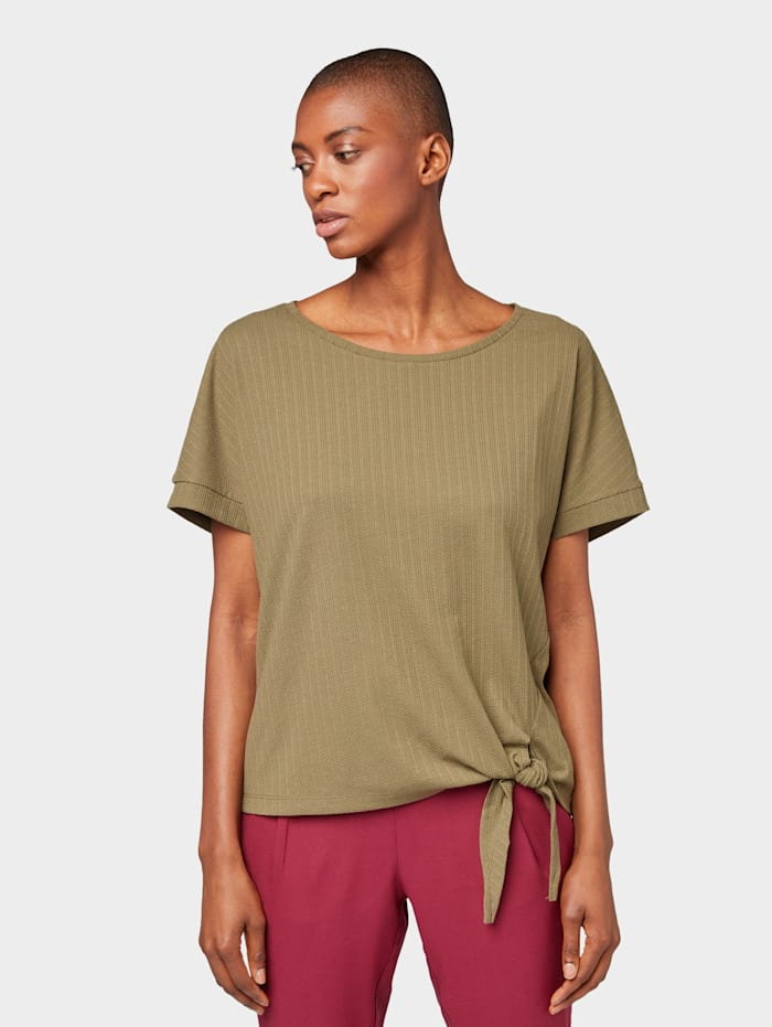 Tom Tailor T-Shirt mit Knotendetail, Dry Greyish Olive