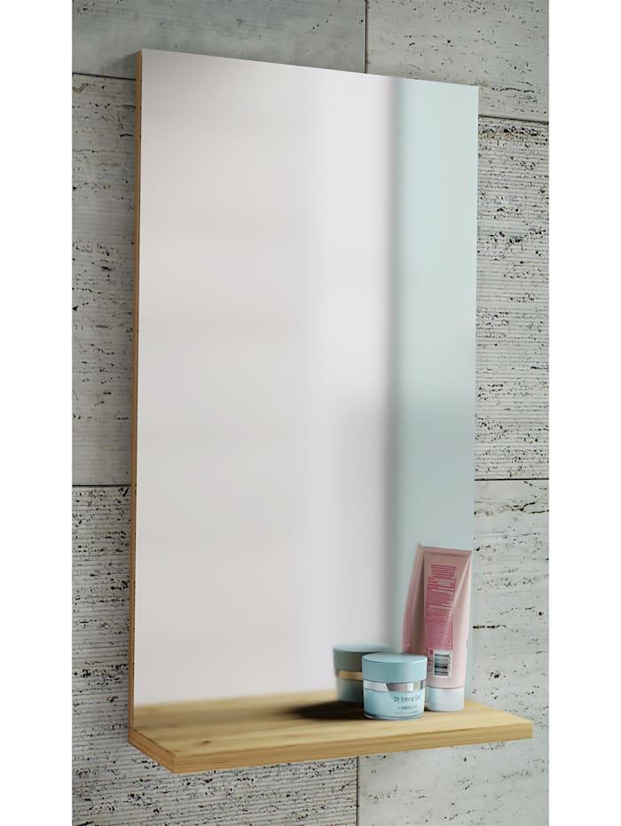 VCM Holz Wand Badspiegel Sesal mit Ablage, Honig-Eiche