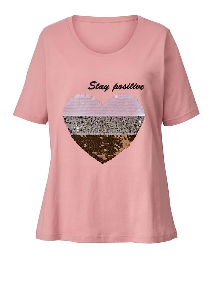 Shirt met hart van pailletten