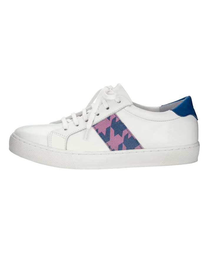 WENZ Sneaker mit modischem Hahnentritt-Muster, Weiß/Royalblau/Pink