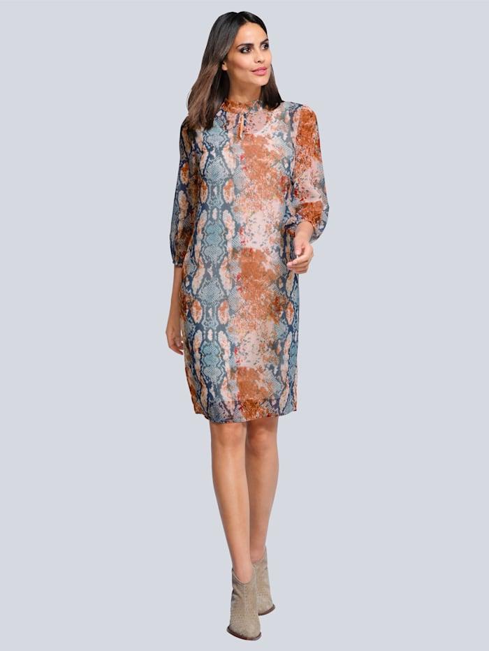 Alba Moda Kleid im exklusiven Dessin, Blau/Beige