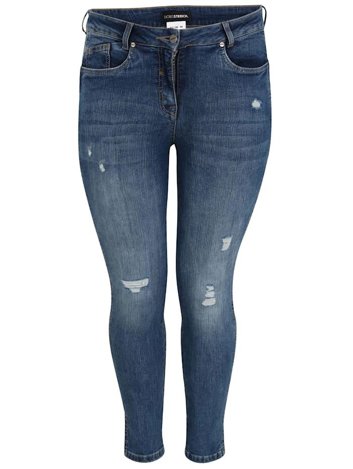 Doris Streich 5-Pocket Jeans mit gefransten Löchern, jeansblau