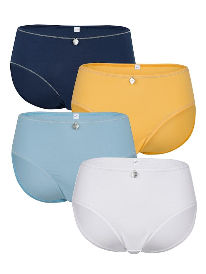 Blue Moon Taillenslips im 4er-Pack mit Lurexzierstich, Blau/Gelb/Marineblau/Weiß