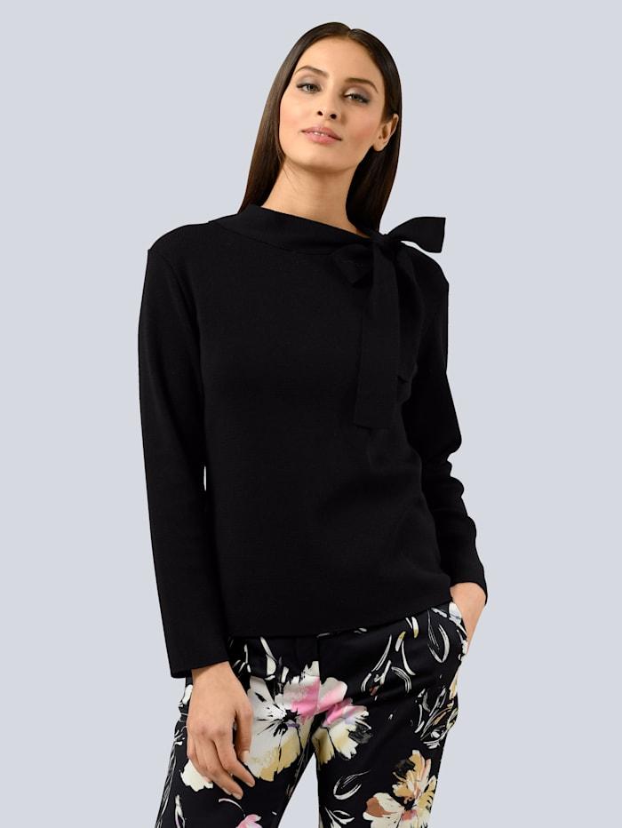 Alba Moda Pullover mit Schleifendetail, Schwarz