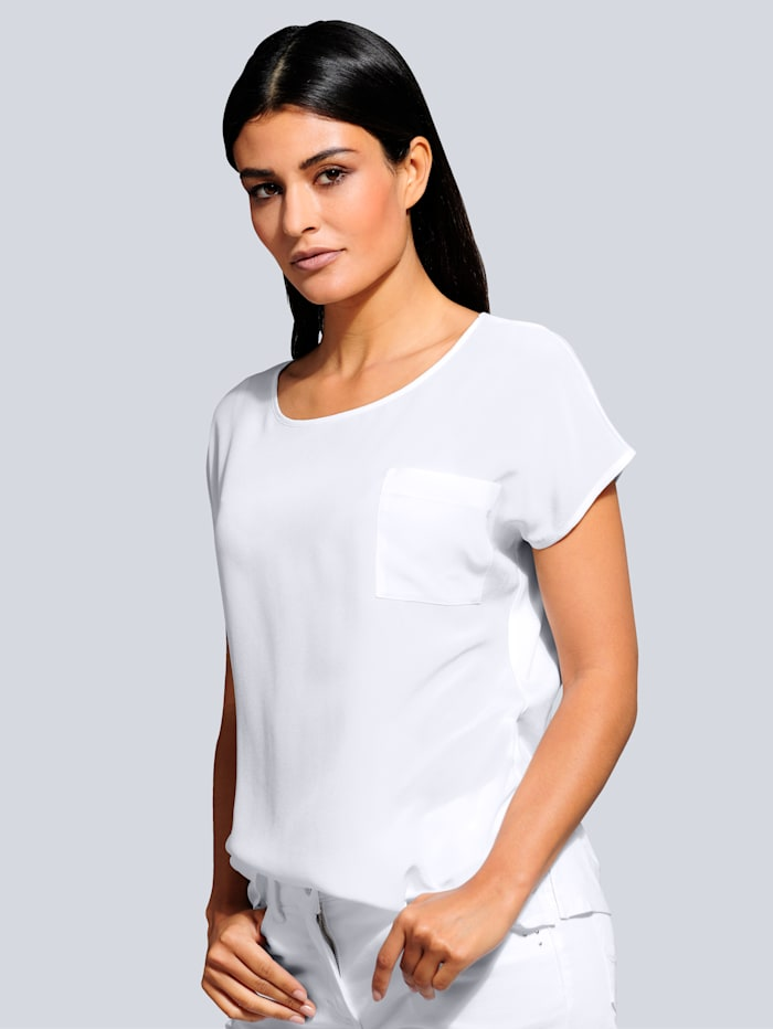 Alba Moda Shirt van een modieuze materialenmix, Offwhite