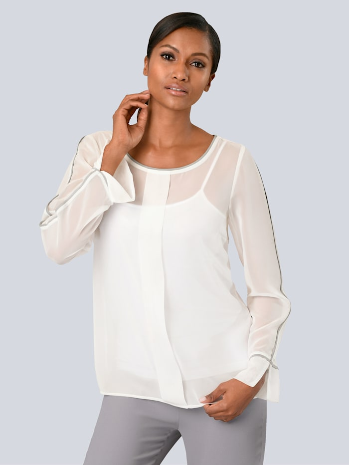 Alba Moda Bluse mit Paspellierung, Off-white