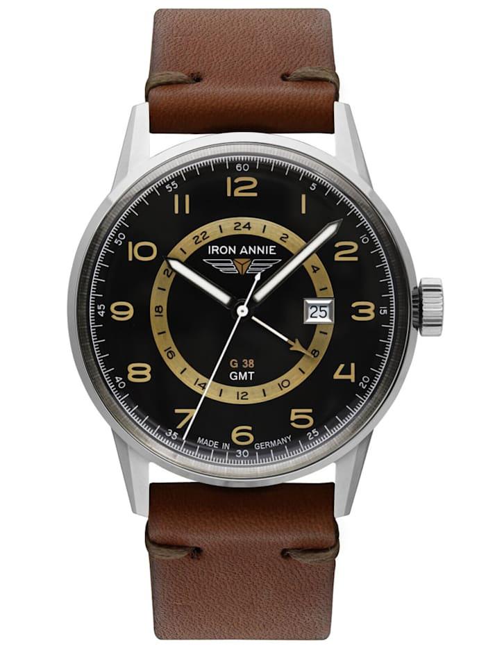 Iron Annie Herrenuhr G38 GMT mit braunem Lederband, Schwarz
