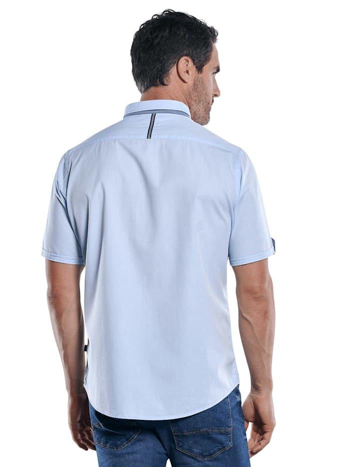 Unifarbenes Kurzarmhemd mit stylischen Kontrastdetails