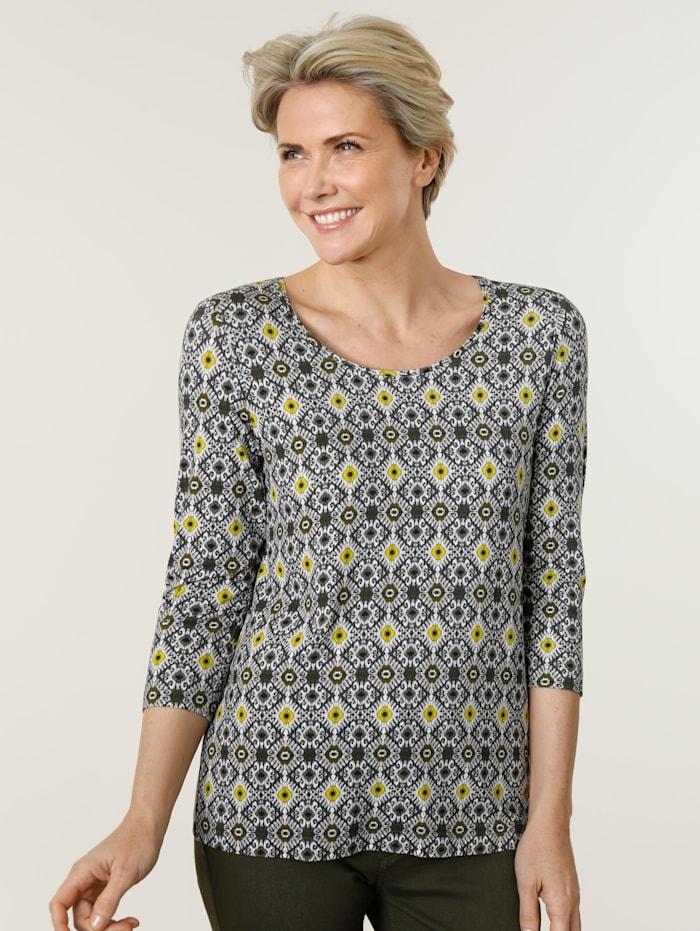 MONA Shirt met grafische print rondom, Olijf/Limoengroen/Taupe