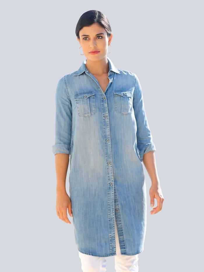 Alba Moda Kleid in legerer Hemdblusenform, Blue bleached